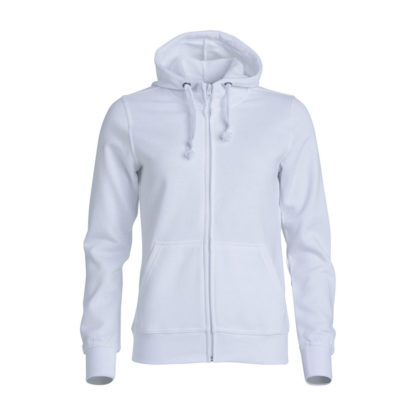 felpa basic hoody full zip donna bianco