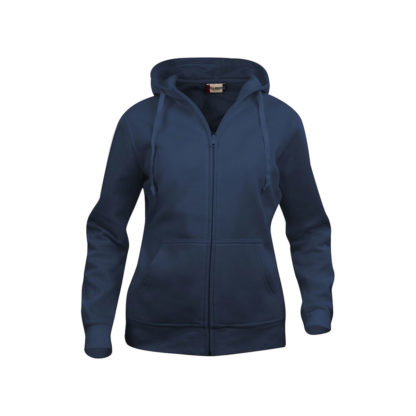 felpa basic hoody full zip donna blu