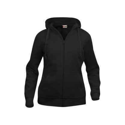 felpa basic hoody full zip donna nero