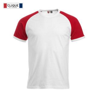 t-shirt raglan-T uomo bianco/rosso