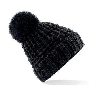 cuffia-BEECHFIELD-furpompombeanie-black