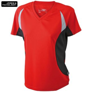 donna-tshirt-sport-runningT-redblack
