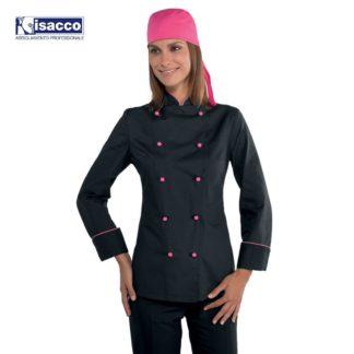 isacco-horeca-giacca-ladychefML-nerofuxia